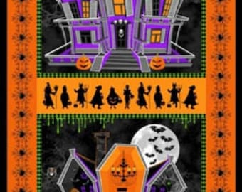 Halloween Ghosts and Ghouls Haunted Houses 23x44 cotton fabric panel by Windham Fabrics