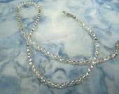 Silver Lined Crystal Clear Peanut Shaped Farfalle  Multi Strand Convertible Necklace