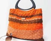 SALE Bags Crochet Handbag FREE EARRINGS  Handbag  Summer Spring Handbag Black Triangle Handles  Burn Orange