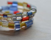Beaded Memory Wire Bracelet Rainbow Red Yellow Blue Green Purple  Clear Glass Beads Cane Glass Bold Statement Dramatic Stripes 1