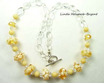 Necklace with Lampwork Beads of Yellow Flowers and Dots