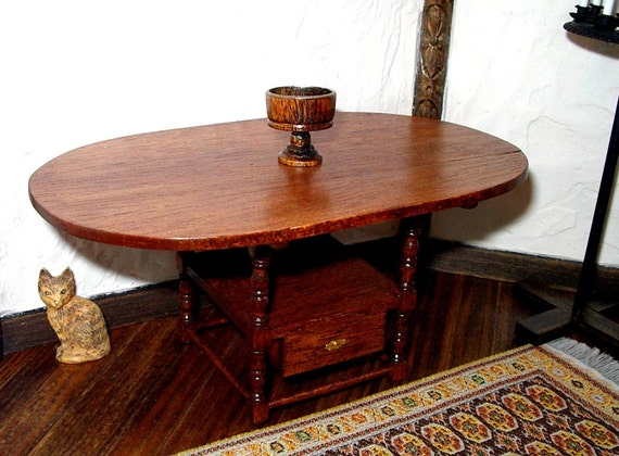 Chair-Table, Colonial, Oval, dollhouse miniature 1/12 scale, circa 1700, Hand Made in the USA