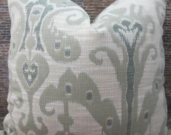 Designer Pillow Cover Lumbar, 16 x16, 18 x 18, 20 x 20, 22 x 22 - Kravet Ikat Jacq - Seafoam Green