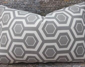 Designer Pillow Cover  - Lumbar, 16 x 16, 18 x 18, 20 x 20 Honeycomb Gray