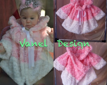 Little Girl Faux Fur Pink Coat Baby Toddler Clothing Winter Autumn Spring  Jacket Bridal Birthday Party Gift Babies Warm Coat Jacket