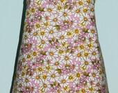 Purplish Pink with White and Orange Flower Printed Apron