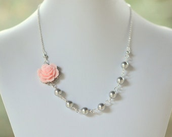 Pink Rose and Grey Pearl Bridesmaid Necklace in Grey Swarovski Pearl Asymmetrical Floral Necklace.  Pink and Grey Wedding Jewelry.