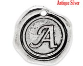 "1pc Initial ""A"" Antique Silver Charm. Personalized Small Pendant. Metal letter. 18mm Round Disc. Necklace Bracelet Component."