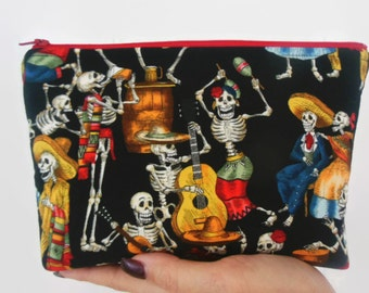 Dancing Skeletons-Large zipper cosmetic/accessor Pouch-Fiesta de los Muertos