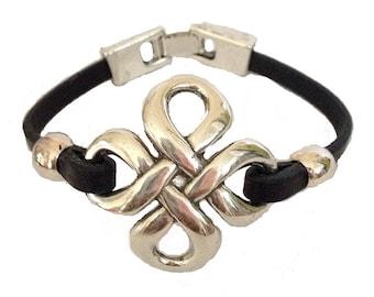 Black Leather Silver Celtic Knot Bracelet - Double Infinity -