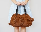 BAG // Brown Tote Bag Shoulder Bag  Winter bag Crochet bag Genuine Leather Black Handles Valentine's Day