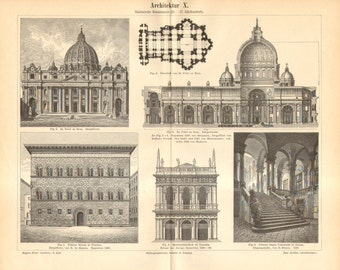 1893  Italian Renaissance Architecture, 15-17th Century Antique Engraving to Frame