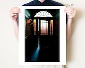 Door photography, art deco doorway. Doors artwork, ornate stained glass interior fine art photograph. English decor, dark photo print