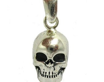 PE000886 Sterling Silver Pendant Charm Solid 925 Skull