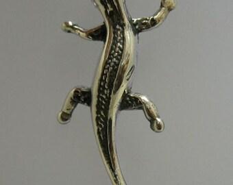 PE000783 Sterling silver pendant solid 925 Lizard Gecko