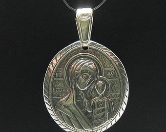 PE000232 Sterling silver pendant Mother of God solid 925