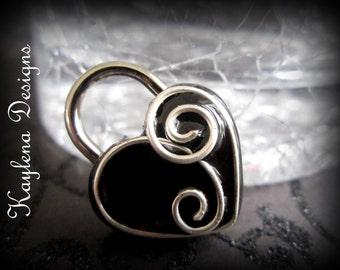 Heart Shaped Lock, Metal Swirl