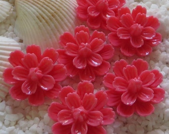 Resin Flower Cabochon with center bud - 20mm -  12 pcs - Rose Pink