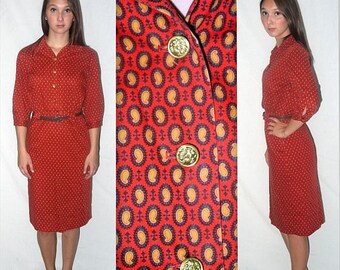 Stella beats the rugs  ... vintage 40s day dress / 1940s shirtwaist / wartime lindy swing / novelty print paisley .. XS S / bust 38