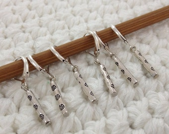 Removable Stitch Marker Flowers - 6 Silver Tubes Stitch Markers for Crochet and Knitting