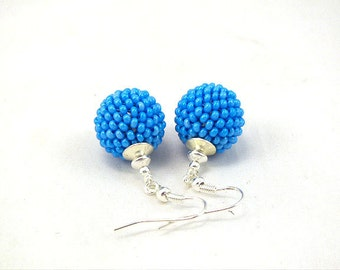Sky blue beaded beads dangle earrings with sterling silver, delicate jewelry ,beaded jewelry, seed beads jewelry, beadwork