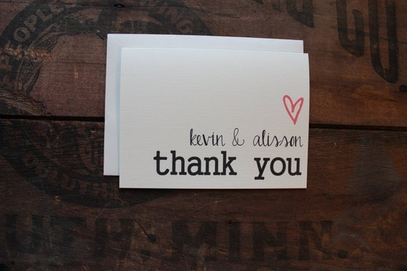 Wedding Thank You Cards with Envelopes / Custom Name Bride & Groom with Heart/  Couples / Set of 10