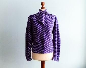 Vintage secretary blouse shirt / ascot  / tie / cobalt blue indigo / white stripes / buttoned / long sleeve / medium