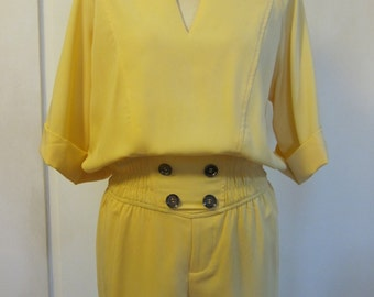 Closing Down Sale! Vintage Yellow Playsuit with Elbow Sleeves and decorative buttons