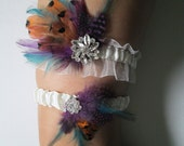 Plum Purple & Teal Wedding Garter Set, Ivory Bridal Garter, Pheasant Feather Garter, Rustic, Country, Barnyard, Autumn Harvest Wedding