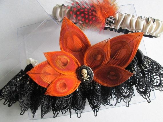 ORANGE Peacock Wedding Garters, Halloween Garter, Zombie Bride, Skull Cameo Bridal Garter, Gothic Autumn / Fall / Steampunk Bride
