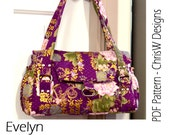 Bag Pattern for the Evelyn Handbag, Designer Purse Floral or plain fabric - ChrisW Designs