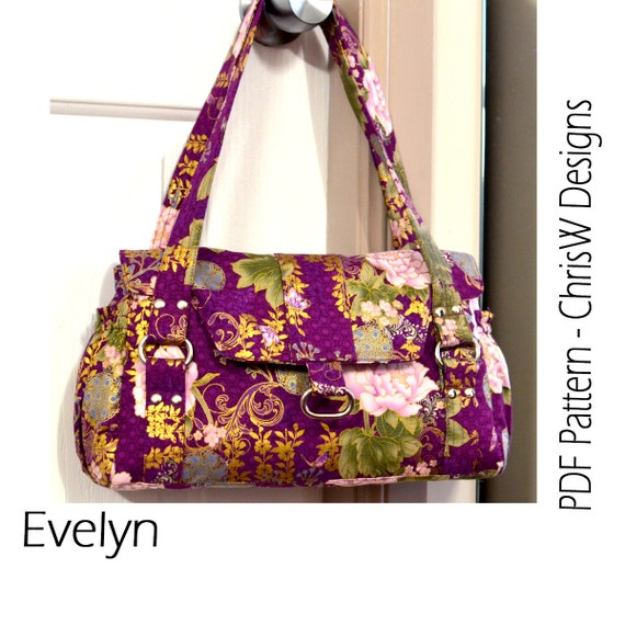 Bag Pattern for the Evelyn Handbag, Designer Purse Floral or plain fabric - ChrisW Designs