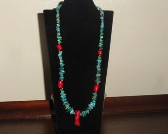 Vintage Sterling Turquoise & Coral Necklace