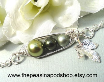 Three Peas In A Pod Bracelet,Personalized Bracelet,Choose Your Metal Color And Pearls