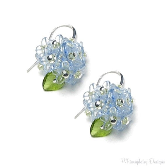 forget me not flower earrings swarovski by whimsydaisydesigns
