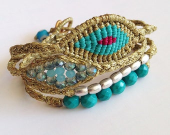 4 wrap braid necklace / bracelet- Handmade by Kitty