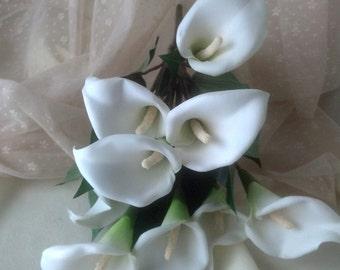 White Calla Lilies Silk Flower Stems DIY Bridal craft supplies accessories Wedding bouquet supply set of 5 callas lily crafts Centerpieces