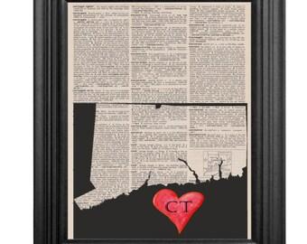 Dictionary Art Print - Connecticut Love- 8x10
