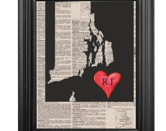 Dictionary Art Print - Rhode Island Love - 8x10
