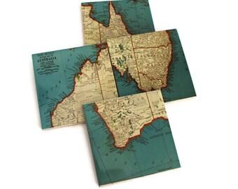Vintage Australia Map Coasters - set of 4