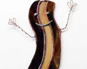 Happy Bacon Stained Glass Suncatcher, Bacon Suncatcher, Bacon Gift, Funny Gift