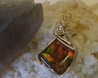 Bright Red, Green, Purple and Yellow to Gold Fire Gem Ammolite from Utah Deposit Wire Wrapped Pendant in Gold Filled Wire 172