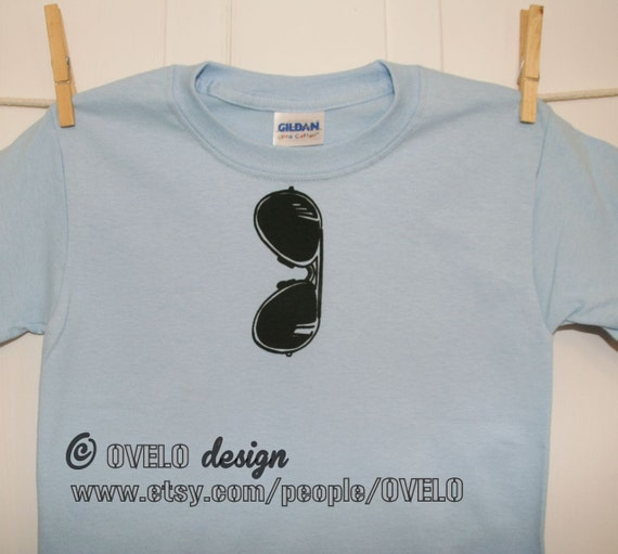 NEW STYLE Aviator Sunglasses T Shirt for Toddlers and Kids Pictured in Light Blue