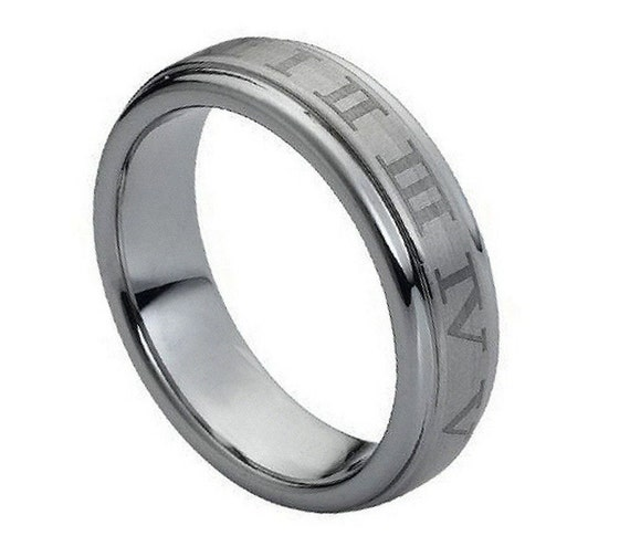 Roman Numeral Wedding Bands: Roman Numerals Ring Tungsten Wedding Band By TemptingJewels