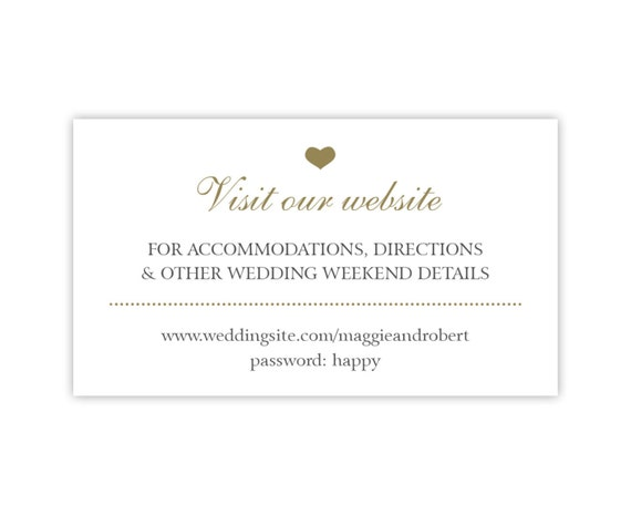Wedding Website Cards Simple Wedding Enclosure by PaperInkLove