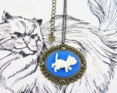 Classic Blue and White 3D Cat Cameo