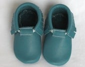 Teal, Green, Blue, Turquoise Genuine Real Leather Moccasins, Moccs, Shoes