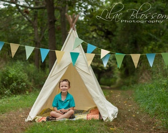 Cream, Natural, Canvas, White Unbleached, Play Teepee, Tee Pee, Tent (poles included)