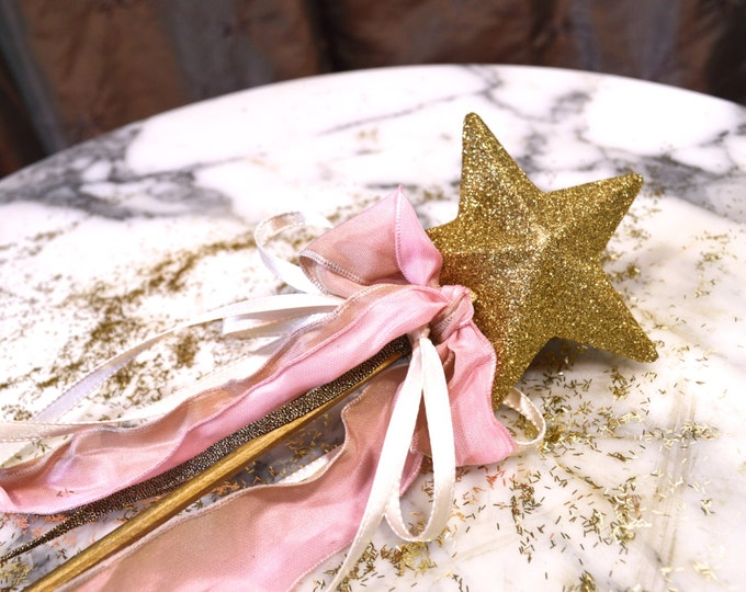 Fairy Princess Wand, Gold Glitter Star, Play, Party Favor, Photo Prop, Wedding, Little Girl's, Fantasy, Enchanted