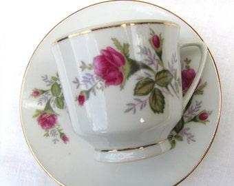 5 Vintage Moss Rose Teacups & Saucers Tea Cup Set - #3193